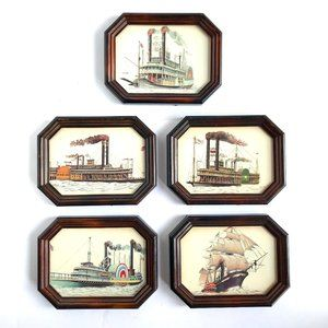 VINTAGE Historic Steamship Wooden Pictures 5 Set